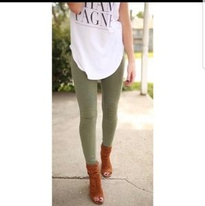 Olive moto jean leggings with ankle zipper
